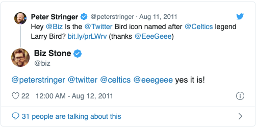 Twitter的logo蓝色小鸟图标名字叫拉里·伯德